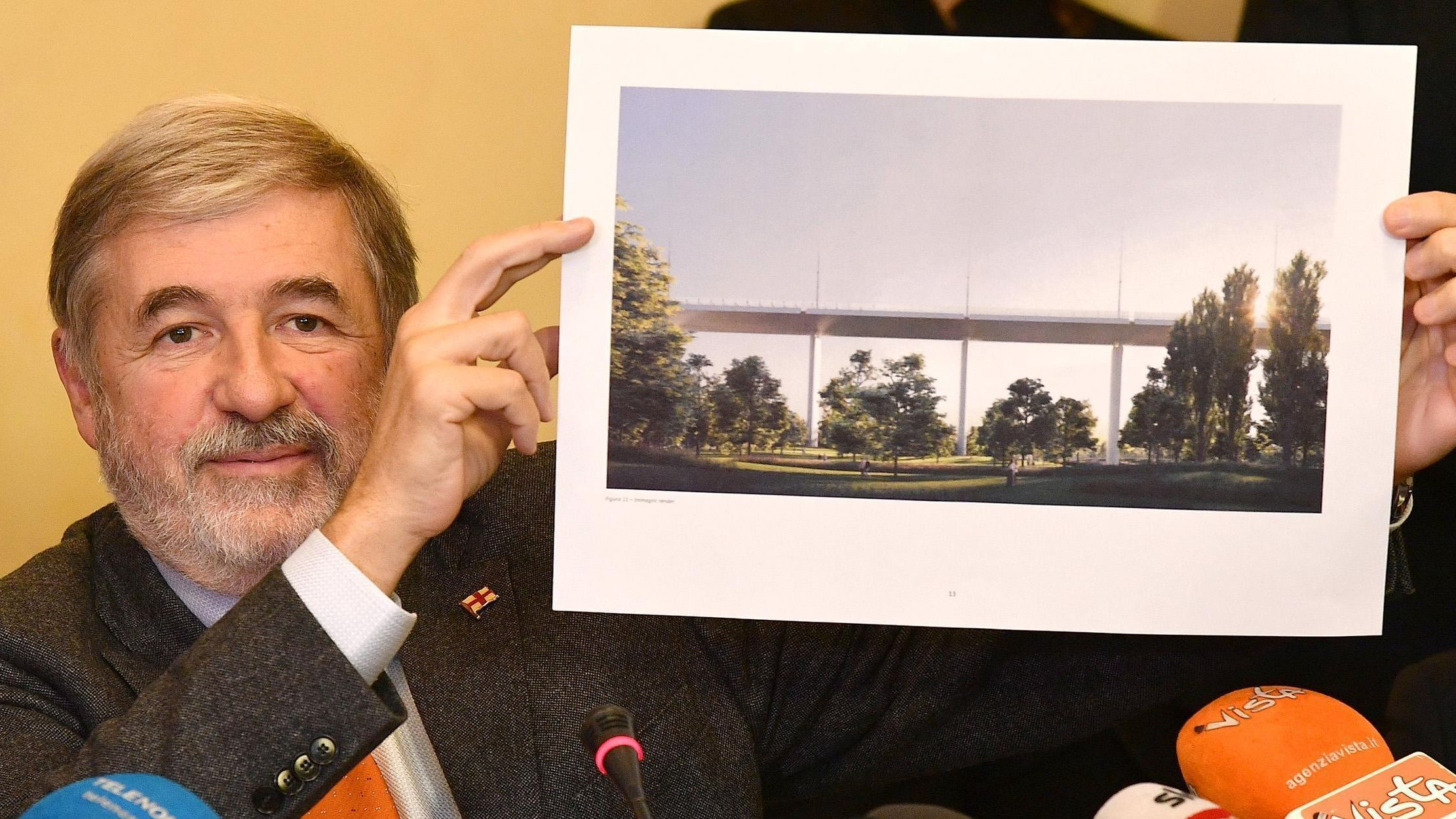 Renzo Piano mit einer Computersimulation der neuen Brücke.