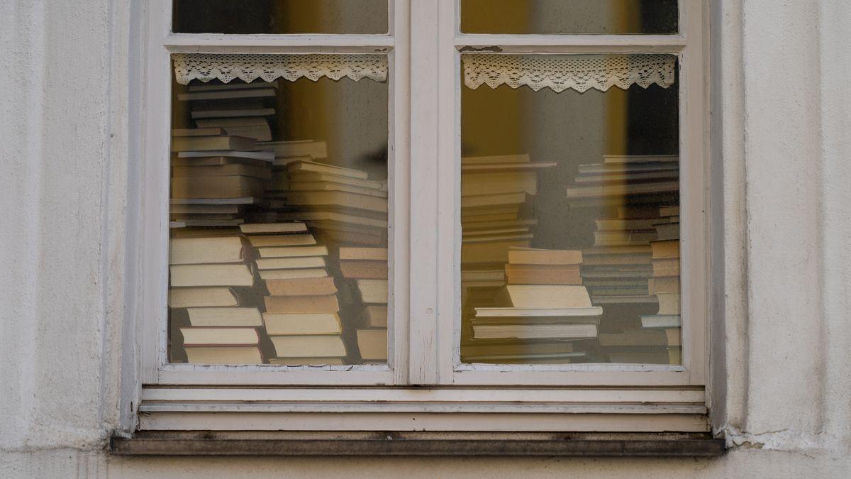 Viele Bücher stapeln sich hinter einem Fenster der Bücherei in Tirschenreuth, aufgenommen am 19.03.20.