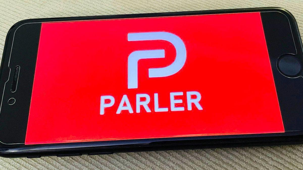 Parler Logo auf einem Smartphone