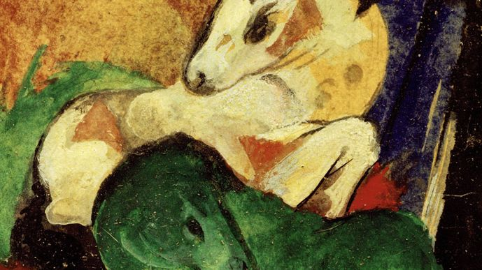 """Franz Marc, """"Grünes und weißes Pferd"""", 14 x 9 cm"""