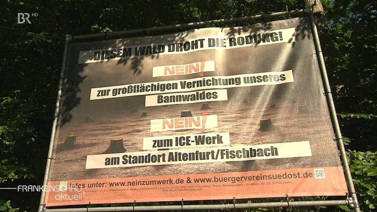 Plakat der Gegner eines ICE-Werks in Altenfurt.