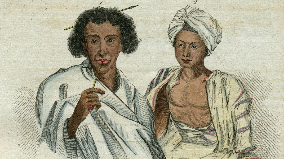 Bild eines Somaliers und eines vornehmen Arabers aus einem Weimarer Kinderbuch von 1810