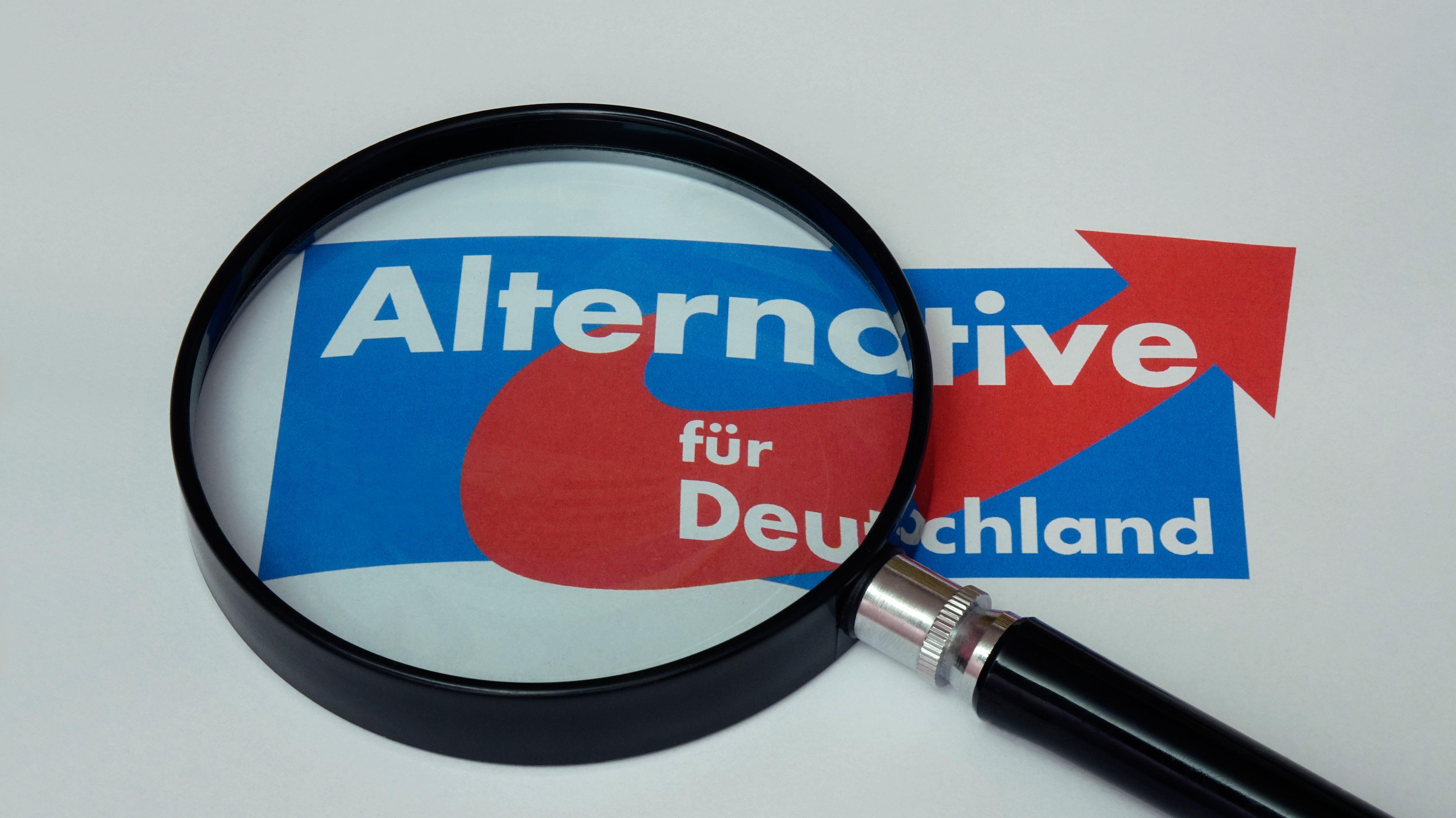 AfD Logo mit Lupe darüber