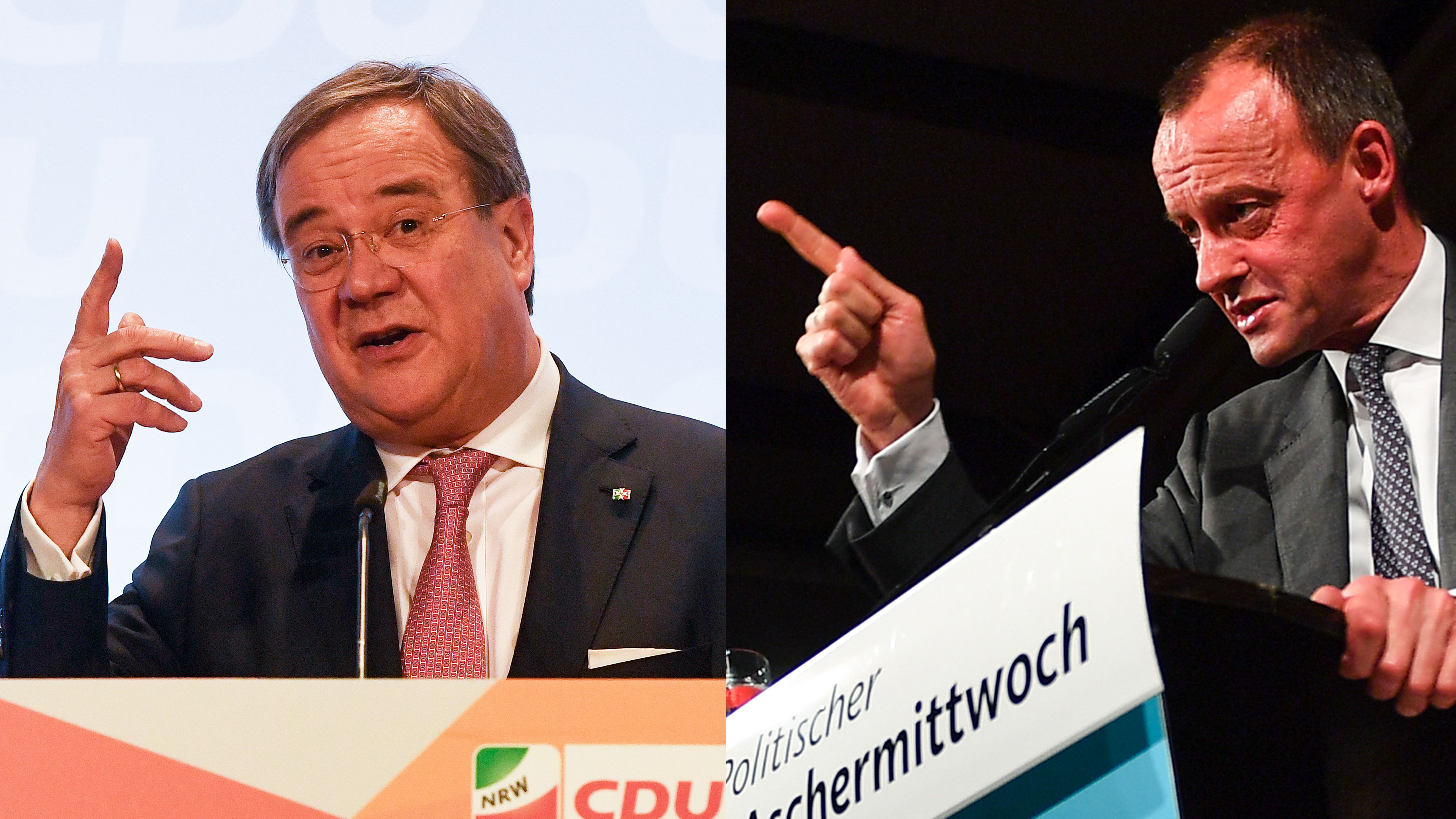 Armin Laschet und Friedrich Merz auf dem Politischen Aschermittwoch