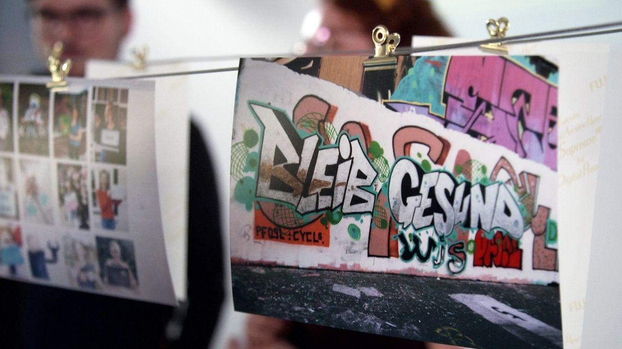 """Graffiti-Zeichnung Bleib gesund für das """"coronarchiv"""""""