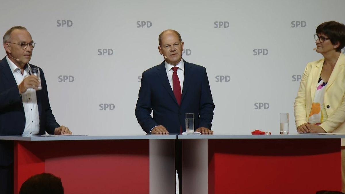 Olaf Scholz äußert sich bei der SPD-Pressekonferenz am Montagmittag zu seiner Nominierung für die Kanzlerkandidatur.