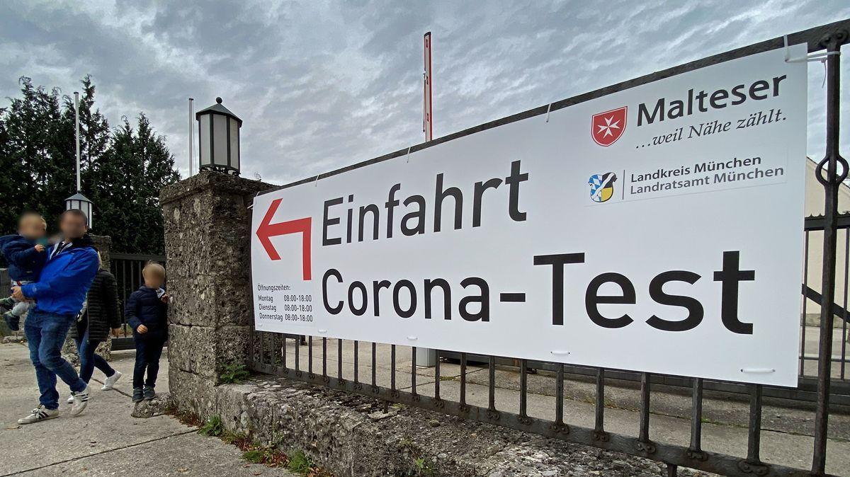 Corona-Teststation in Haar bei München.