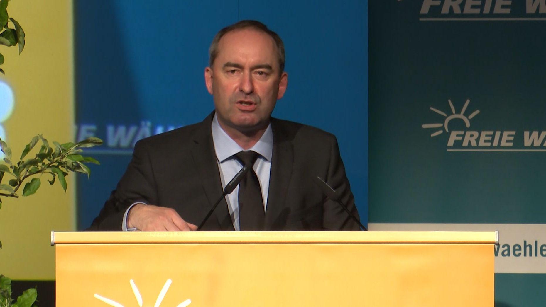Aiwanger während seiner Rede zur EU-Wahl
