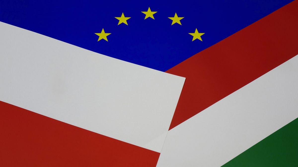 Flaggen EU, Polen, Ungarn