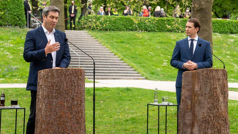 Pressekonferenz von Ministerpräsident Söder und Kanzler Kurz in München | Bild:Peter Kneffel/dpa