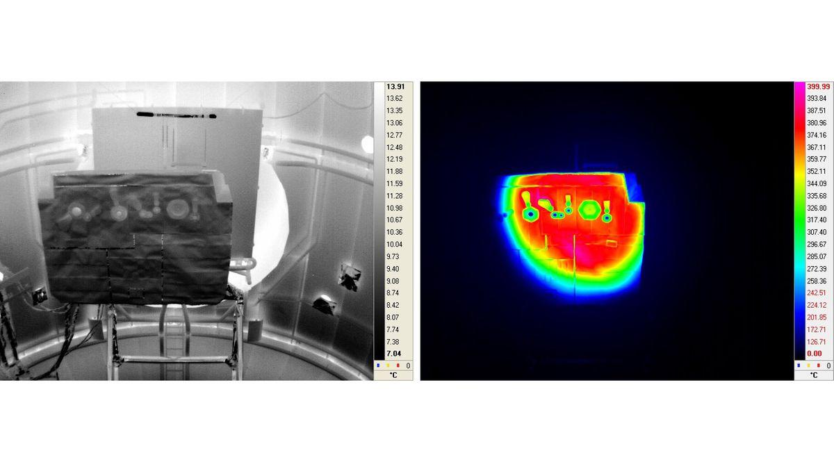 Ein Modell des Hitzeschilds von Solar Orbiter im Test. Aufgenommen links mit einer optischen Kamera und rechts mit einer Infrarot-Kamera