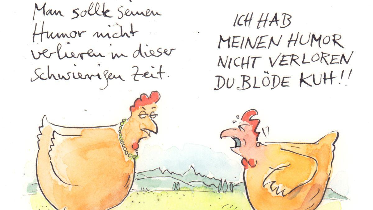 Cartoon mit Dialog zweier Hühner über Humor