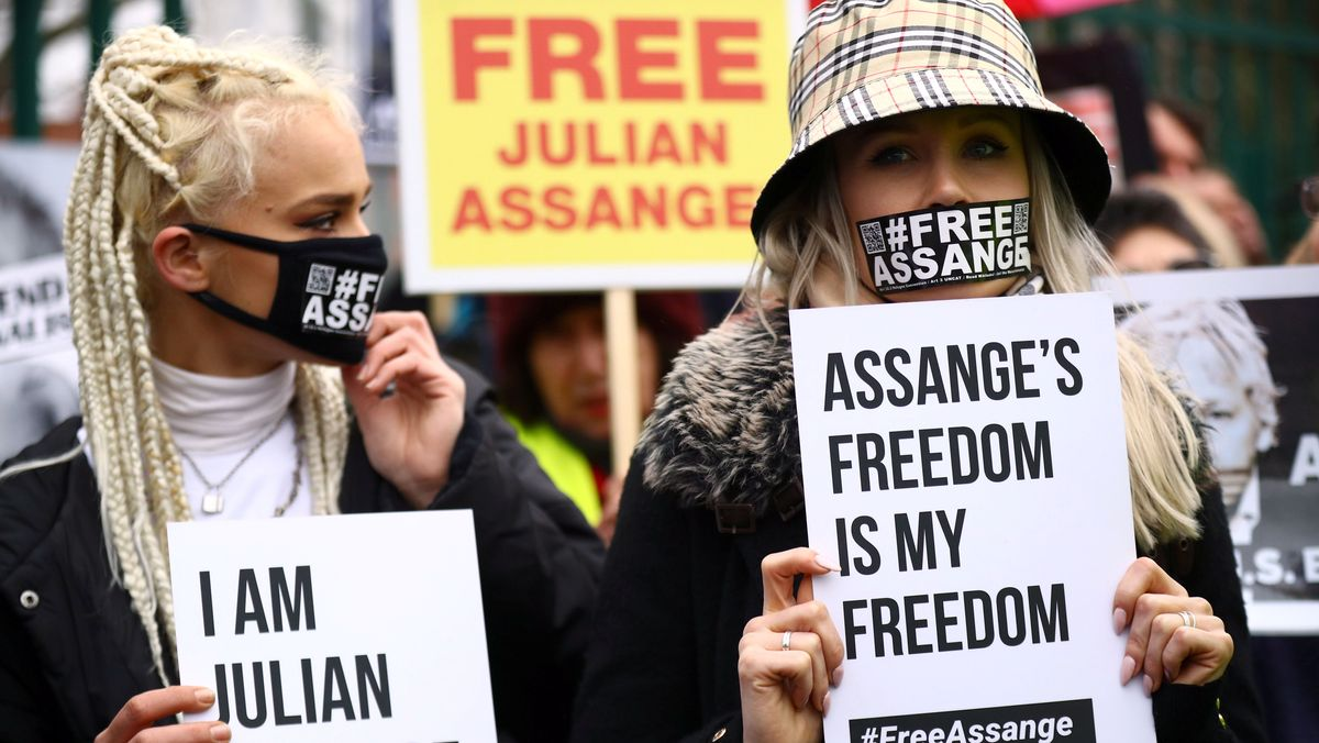Demonstration für Julian Assange