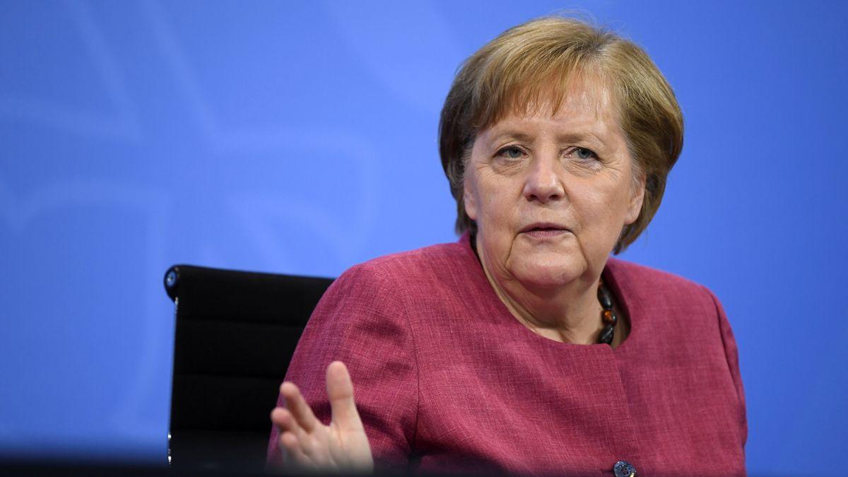 Angela Merkel auf einer Videokonferenz am 2. Juni 2021.