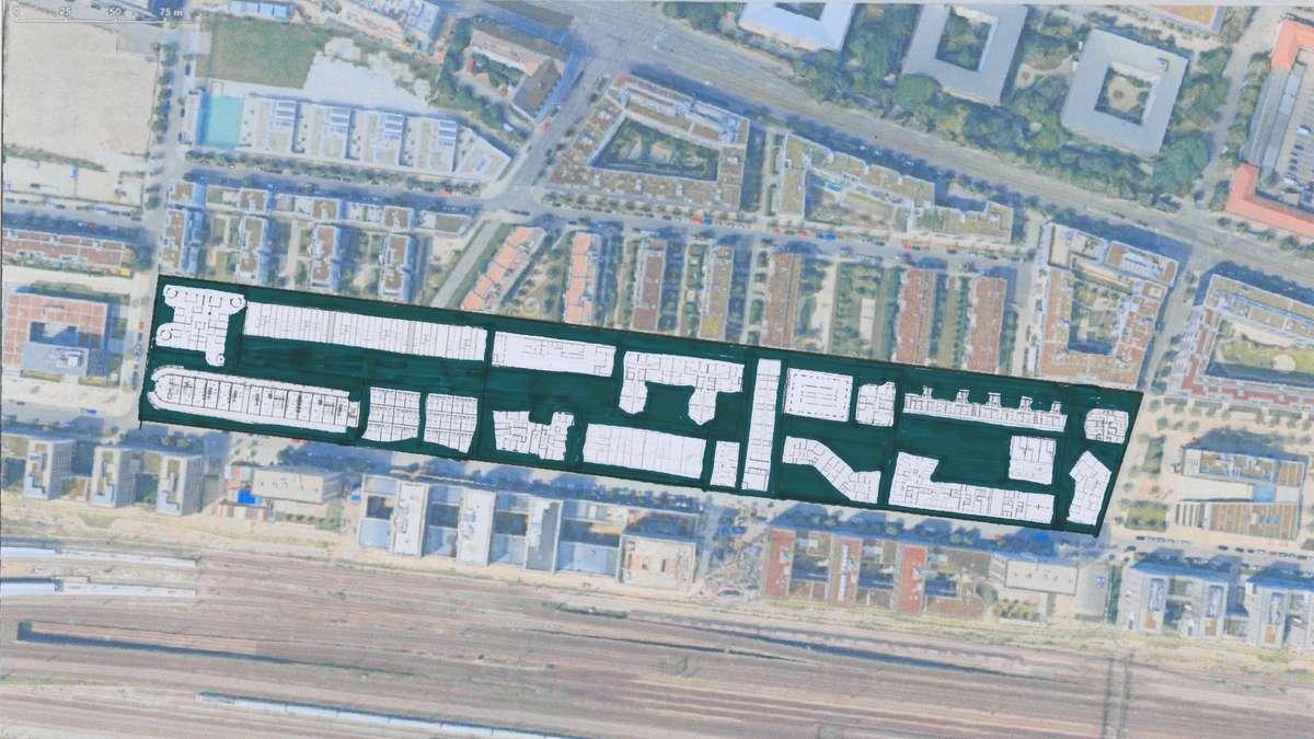 Urbane Verdichtung am Arnulfpark, gesehen aus der Luft, unten der Gleisstrang zum Hauptbahnhof.