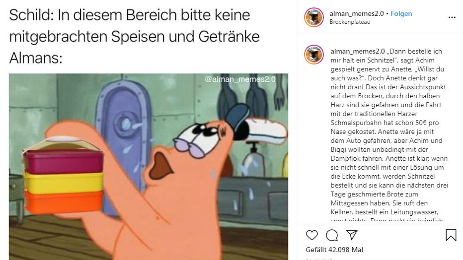"""Ein Alman Meme, gepostet vom Instagram-Kanal """"alman_memes2.0""""."""