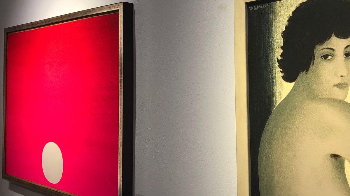 Farbmalerei von Ruprecht Geiger, daneben ein Akt