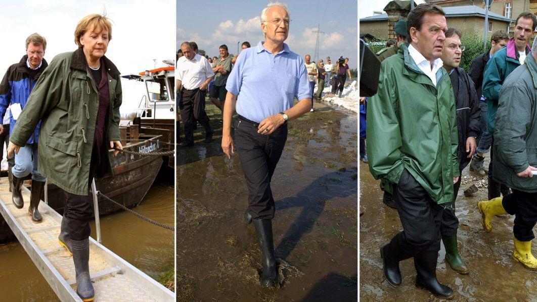 Politiker im Hochwasser: Merkel, Stoiber, Schröder