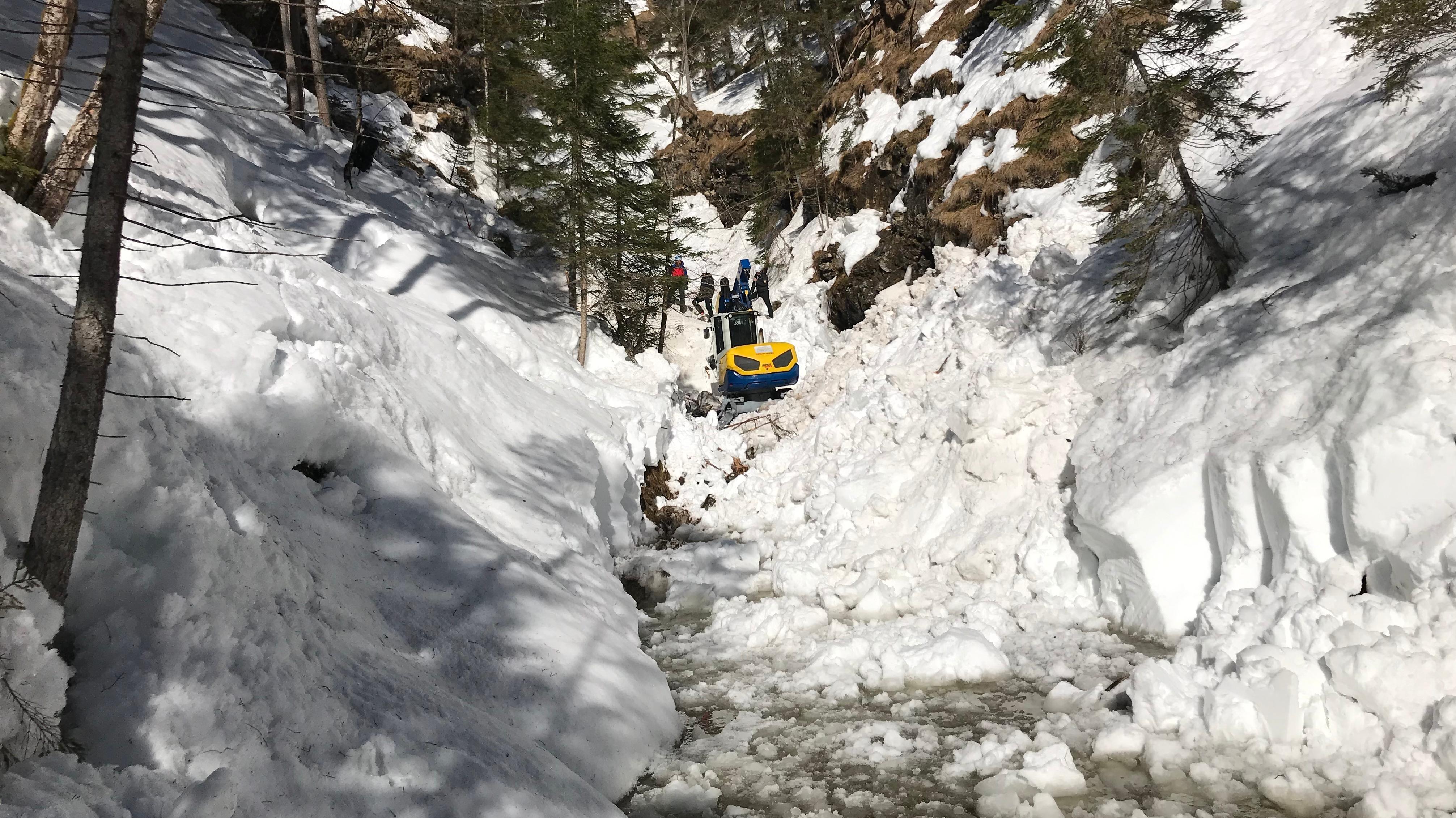 Die Suchtrupps arbeiten sich mit dem Schreitbagger durch den harten Schnee