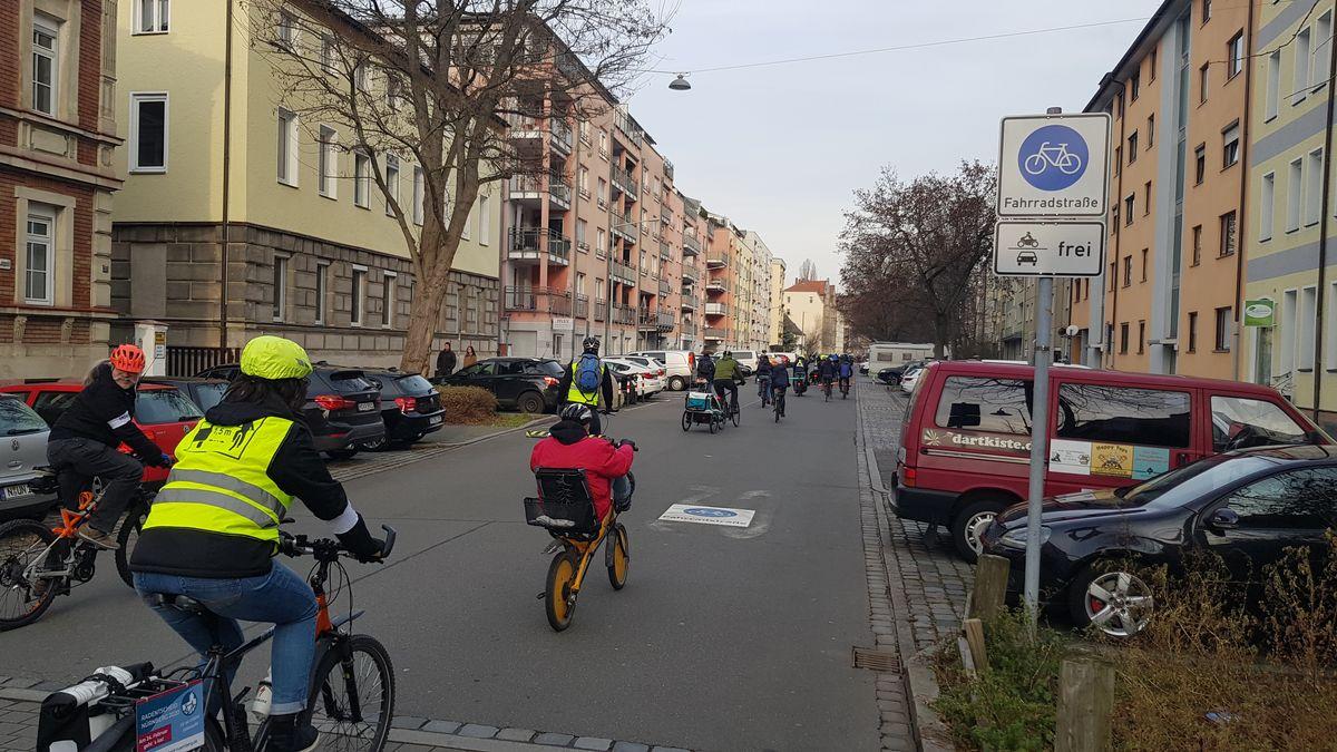 Radfahrer-Demo in Nürnberg am 08.02.2020.