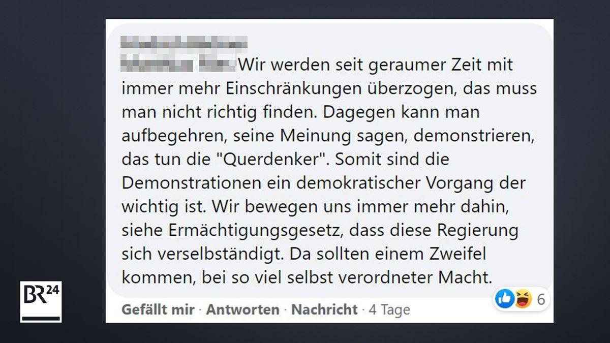 Kommentar eines BR24-Users unter einem Facebook-Post von BR24.