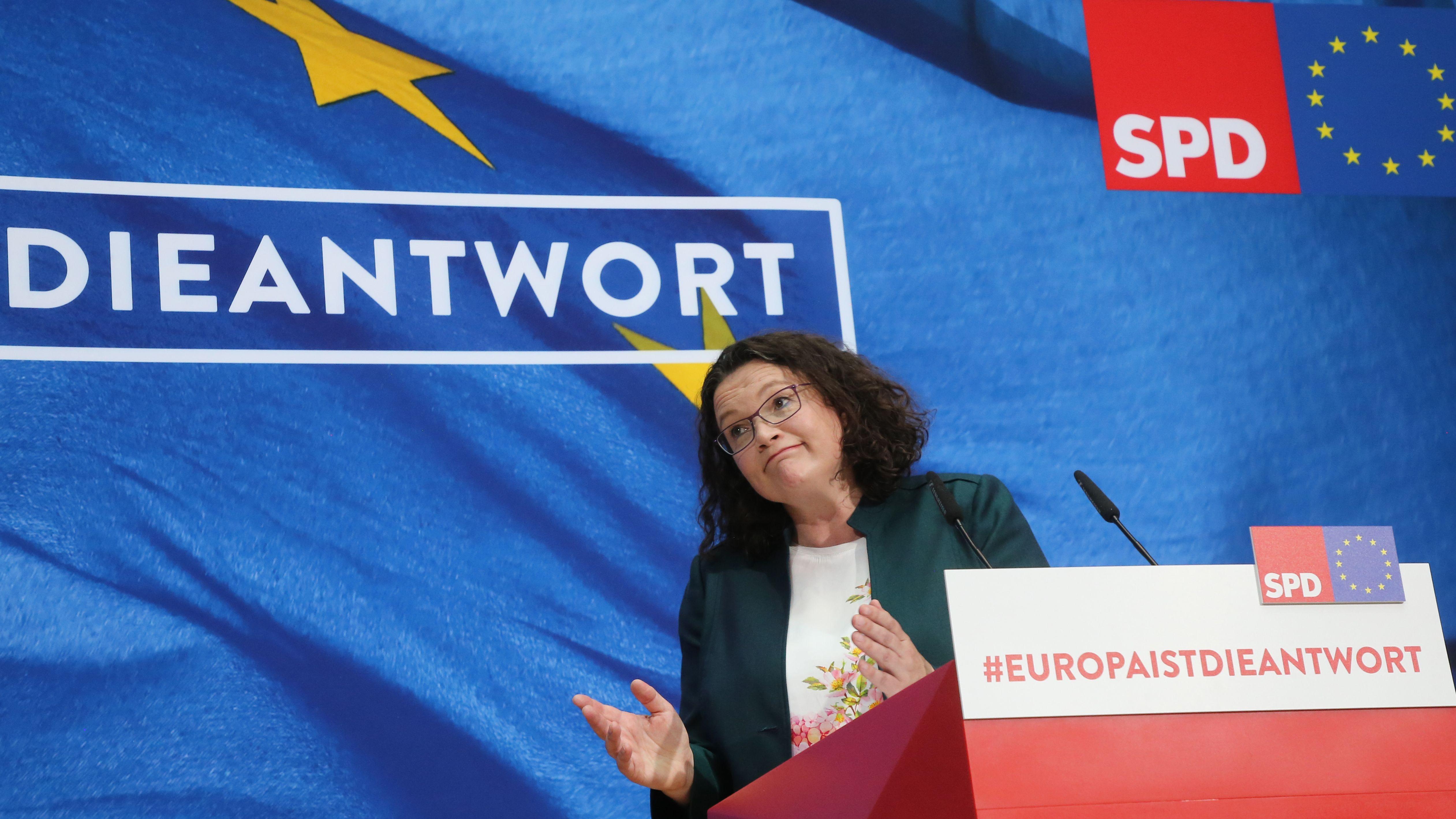 SPD-Chefin Andrea Nahles nach der Europawahl