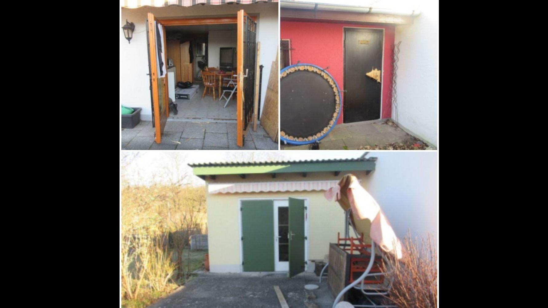 Drei der aufgebrochenen Gartenhäuser in Regensburg