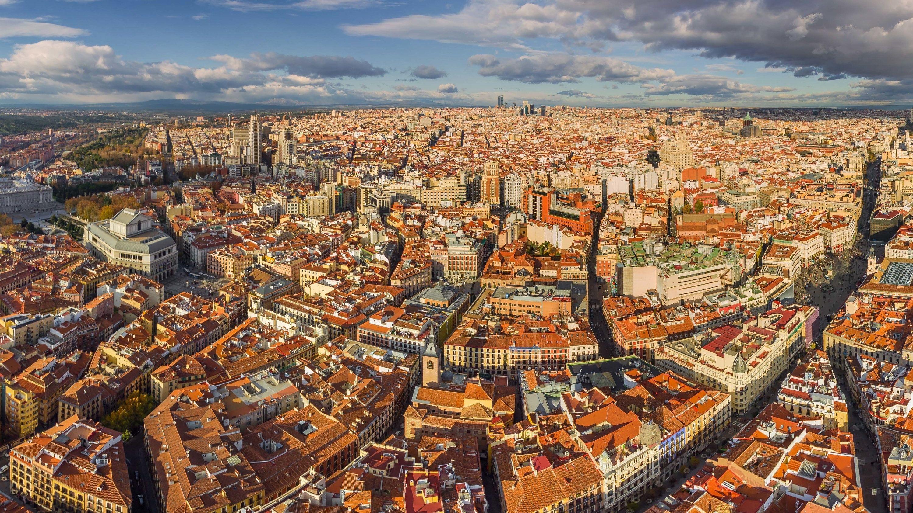 Blick aus der Vogelperspektive auf Madrid