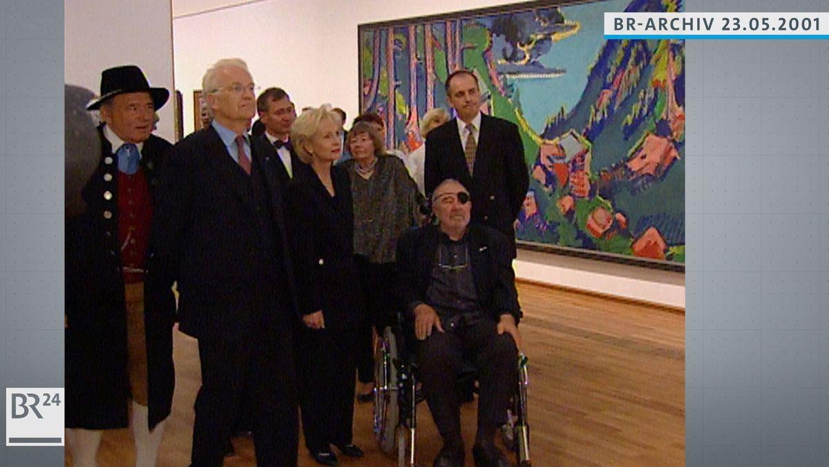 Lothar-Günther Buchheim, Edmund Stoiber und andere Ehrengäste bei der Eröffnung des Museums