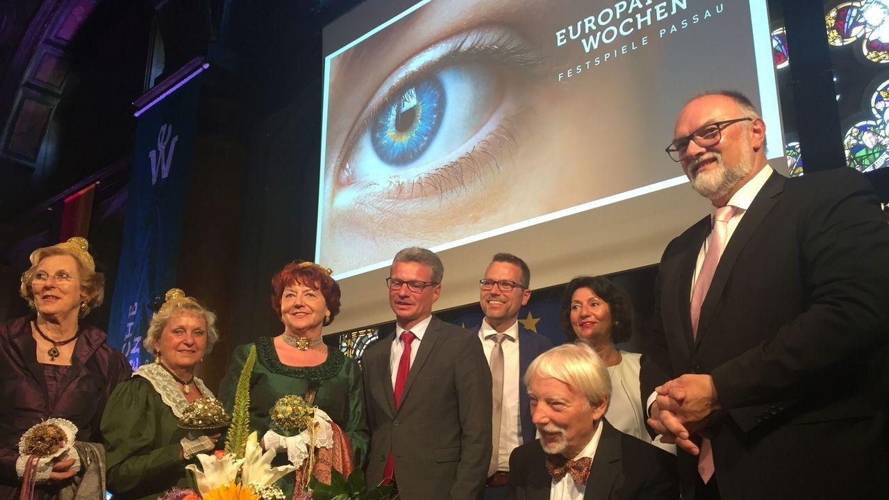 Eröffnung der Europäischen Wochen in Passau; u.a. mit CSU-Kunstminister Sibler und Passaus SPD-Oberbürgermeister Dupper