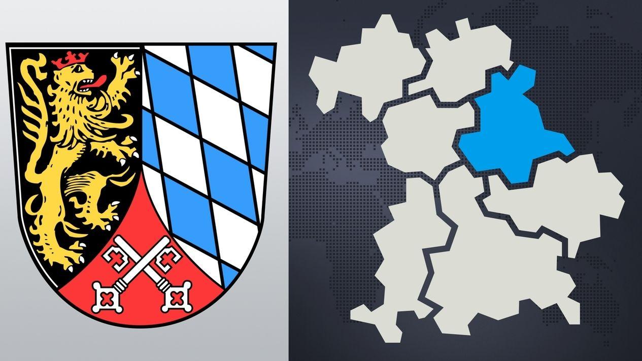 Das Wappen der Oberpfalz - daneben die bayerische Landkarte, die Oberpfalz ist blau hervorgehoben