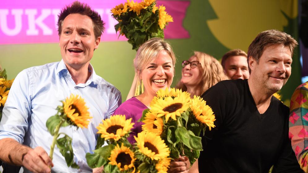 Grünen-Politiker Katharina Schulze, Ludwig Hartmann und Robert Habeck | Bild:picture alliance / NurPhoto