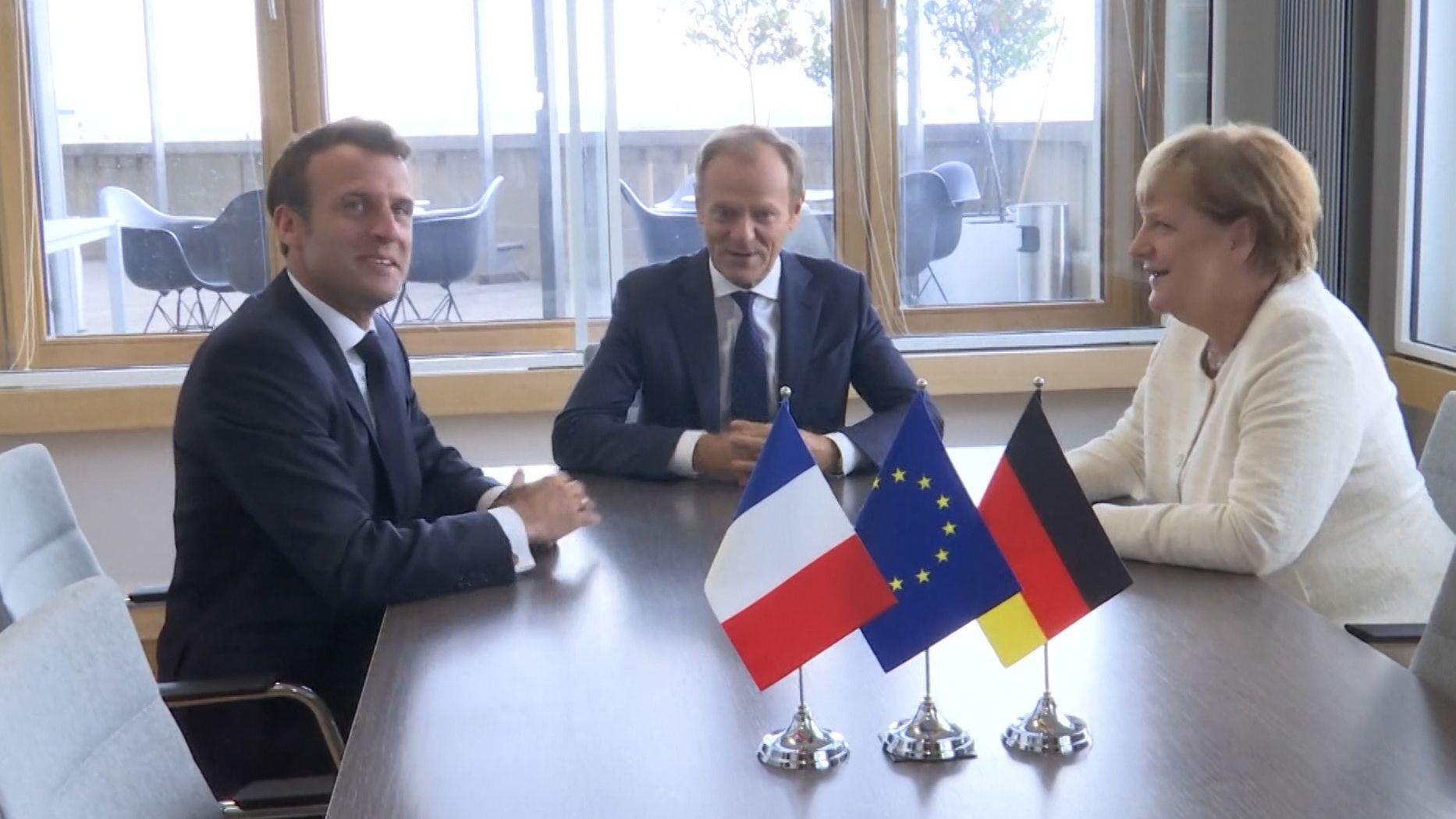 Emanuel Macron, Donald Tusk und Angela Merkel beim EU-Gipfel