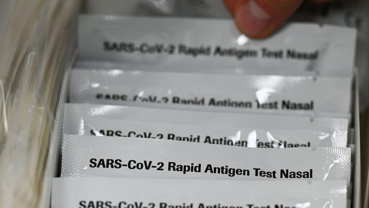 """Verpackungen mit der Aufschrift """"SARS-CoV-2 Rapid Antigen Test Nasal"""" liegen in einer Apotheke in einem Karton."""