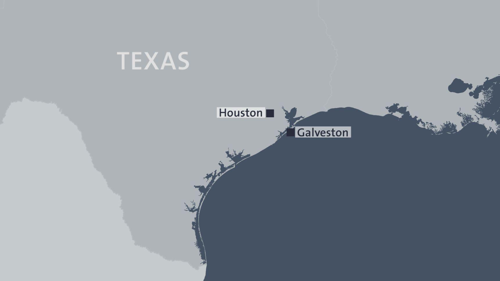 Karte von Texas - In Galveston hat sich der Vorfall ereignet