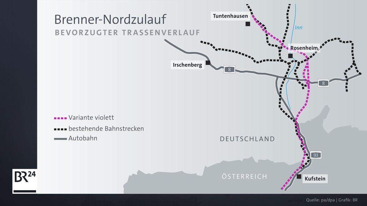 Die Entscheidung der Bahn ist auf die violette Trassen-Variante gefallen