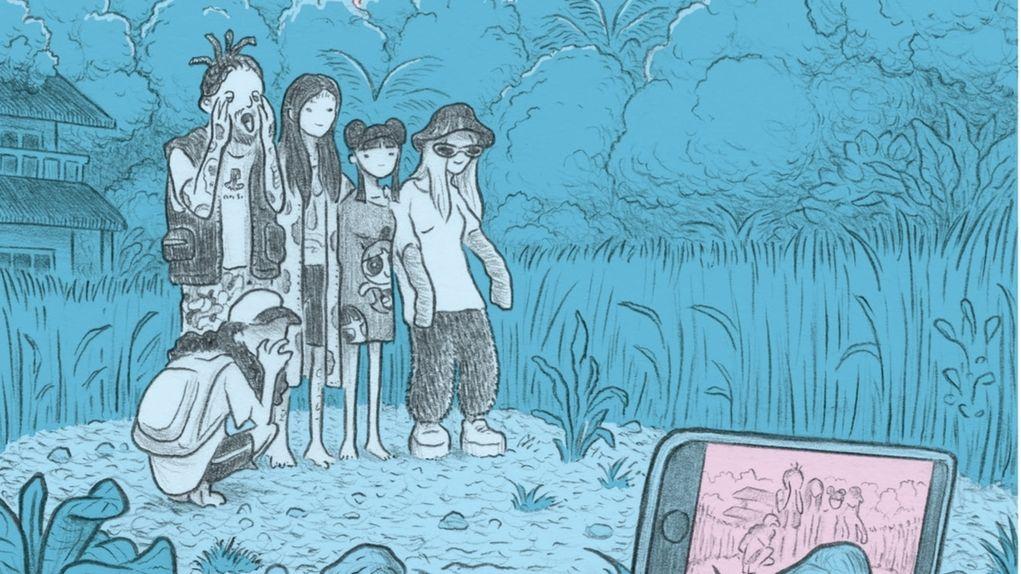 """Illustration aus der Graphic Novel """"Unfollow"""": Eine Gruppe junger Leute macht ein Selfie in der Natur"""