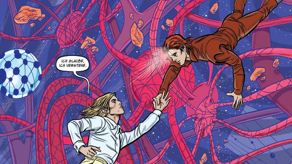 David Bowie verwandelt sich in seine Kunstfigur Ziggy Stardust, umgeben von kosmischen karkenartigen Gebilden