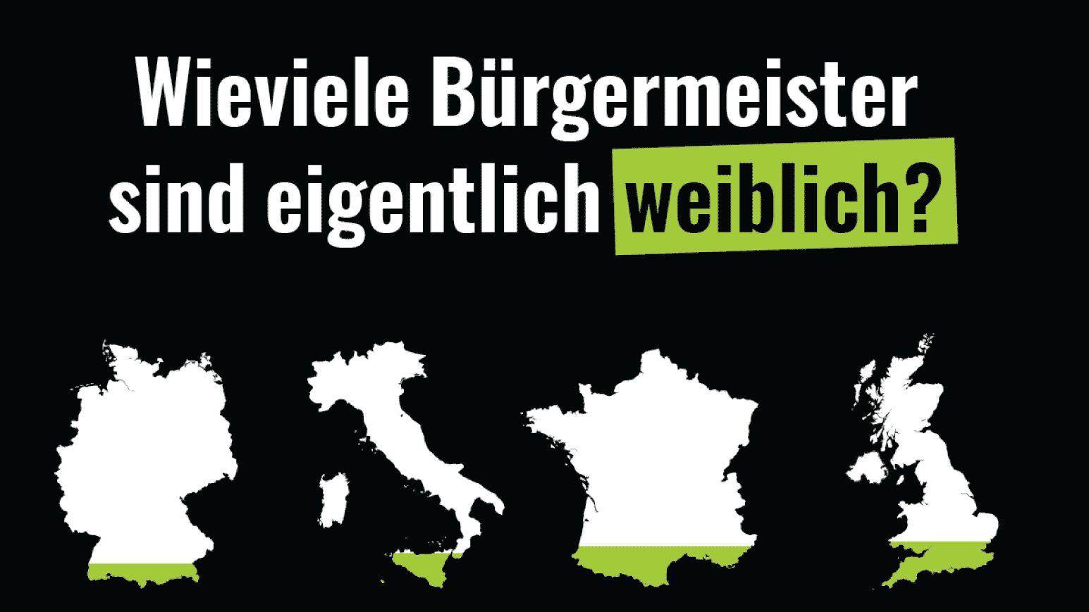 Das aktuelle Cover von Katapult und eine Grafik zur Frage, wieviele Bürgermeister in europäischen Ländern weiblich sind