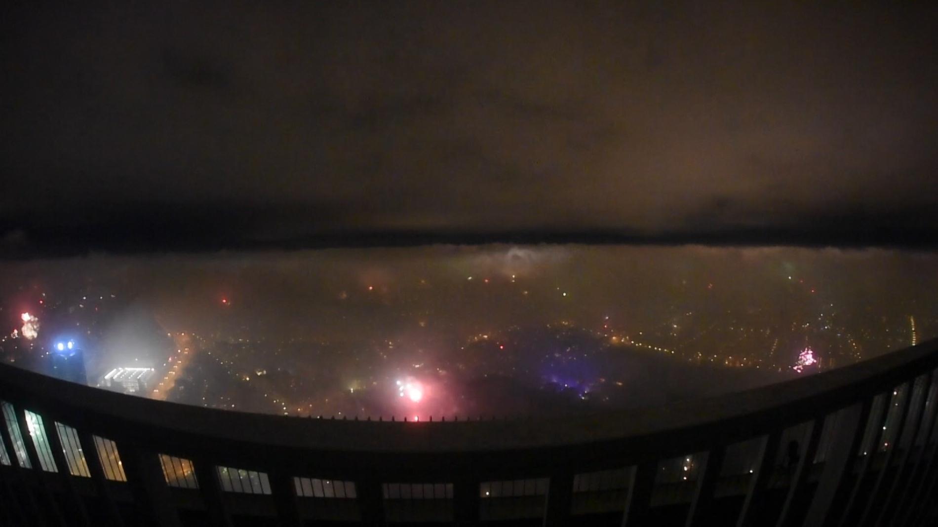 Feuerwerk vom Olympiaturm aus gesehen