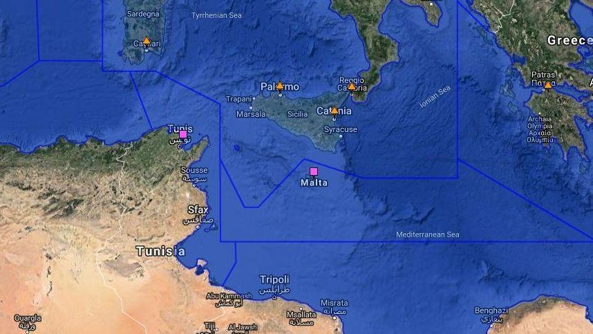 Die dunkelblauen Linien trennen die verschiedenen Seerettungsgebiete zwischen den Anrainerstaaten.