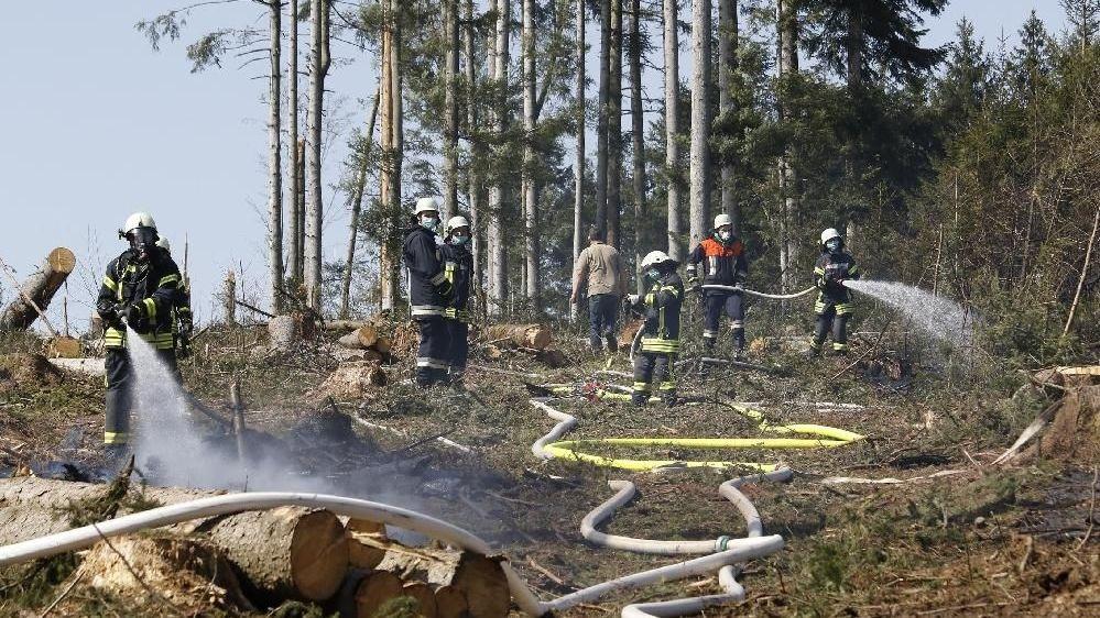 Die Feuerwehr löscht den Waldbrand bei Windorf