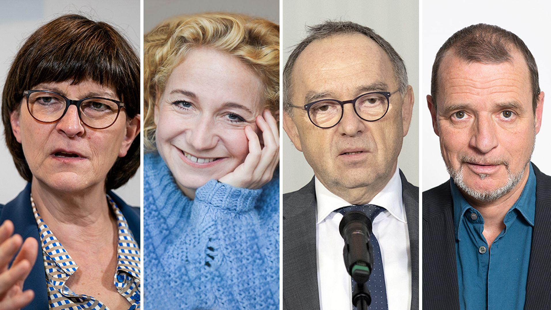 Saskia Esken, Natalie Hünig, Norbert Walter-Borjans und Christian Buse