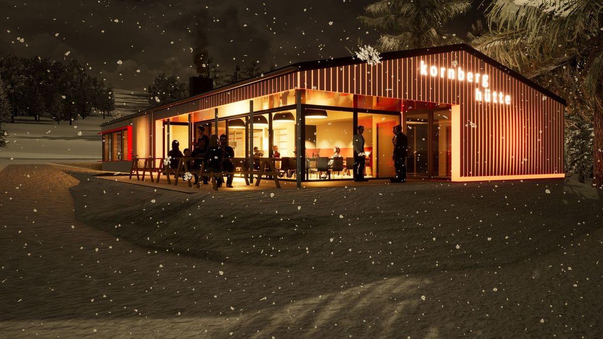 Die Animation eines Architekturbüros zeigt das beleuchtete Kornberghaus im dunklen Wald.