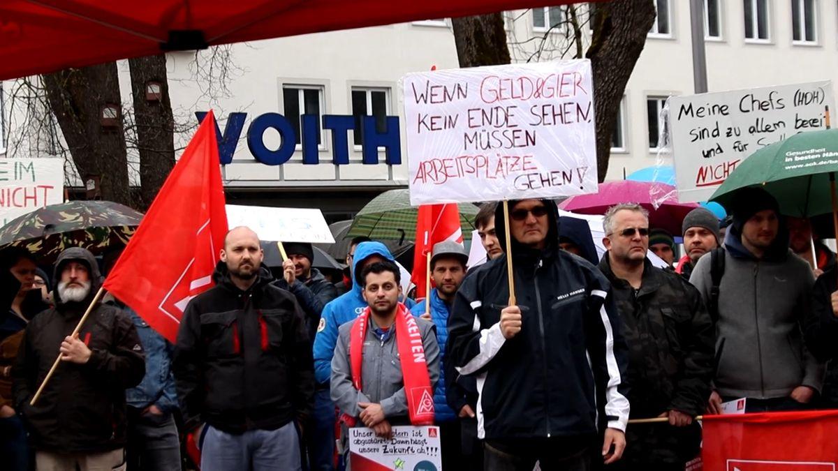 Voith-Mitarbeiter bei einer Streikkundgebung