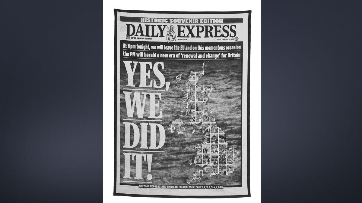 Titelblatt des Daily Express zum Brexit gewebt als Teppich