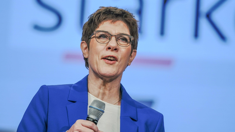 Annegret Kramp-Karrenbauer, Bundesvorsitzende der CDU und Verteidigungsministerin, bei ihrer Rede beim CDU-Bundesparteitag.