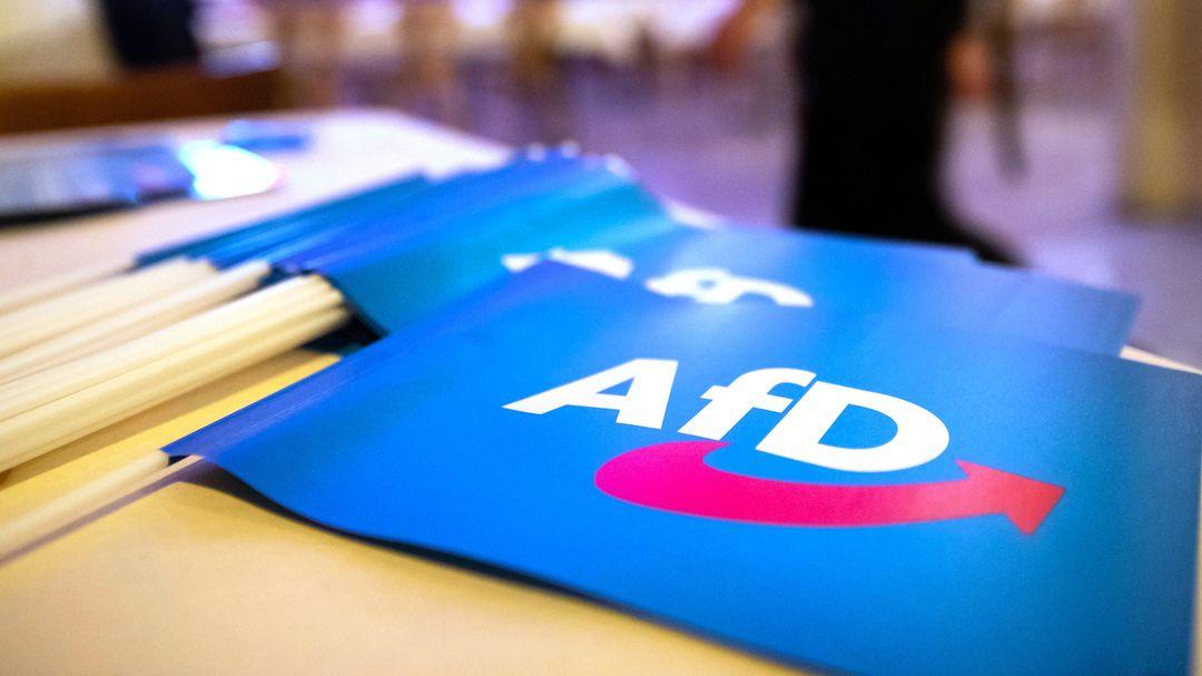 Fähnchen mit dem Logo der AfD liegen auf einem Tisch.