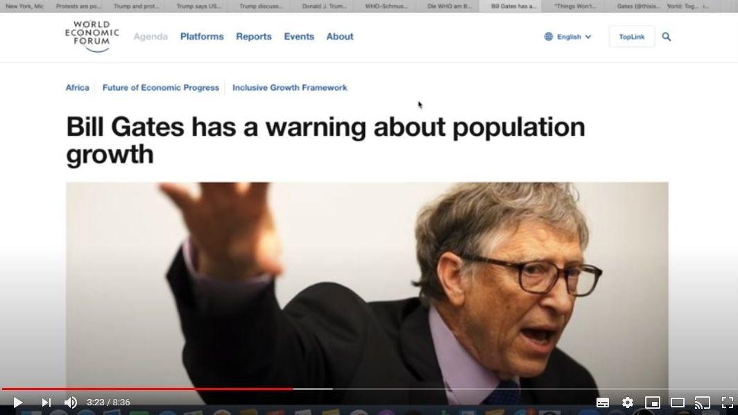Screenshot eines Youtube-Videos, in dem Unwahrheiten über den Microsoft-Gründer Bill Gates und dessen Engagement in der Corona-Krise verbreitet werden.