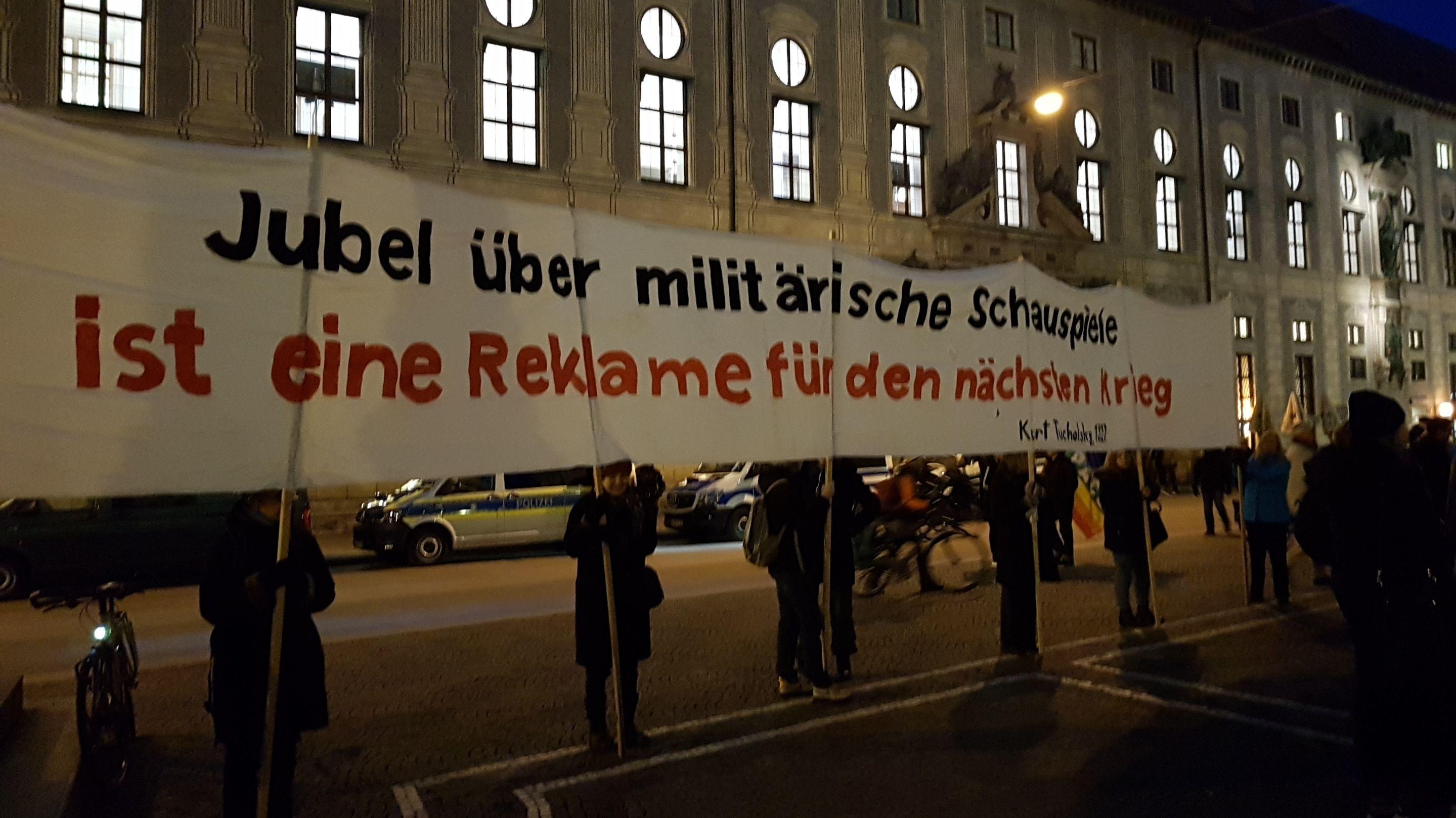 Protestaktion auf dem Münchner Odeonsplatz.